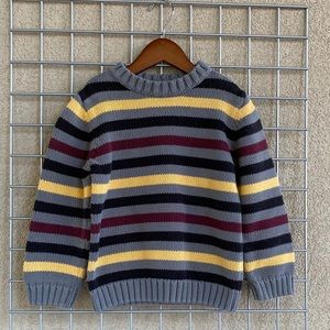 Boy's Gray Stripped Chunky Heavy Knit Sweater